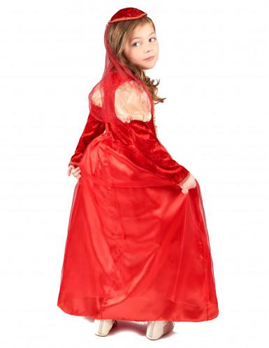 Disfarce medieval vermelho menina-2