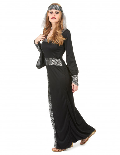 Disfarce medieval preto mulher-1