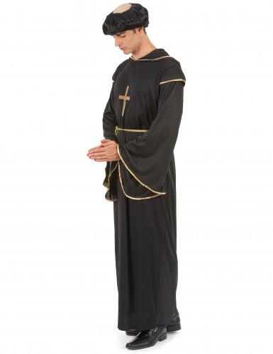 Disfarce de monge homem preto e dourado-1