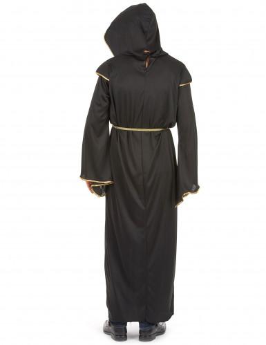 Disfarce de monge homem preto e dourado-2