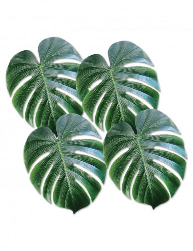 4 Folhas de palmeira de plástico verde