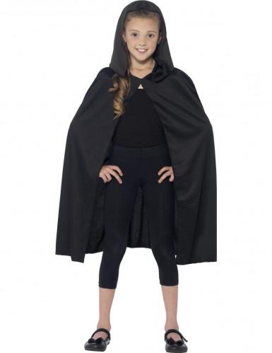 Capa com capuz preta criança Halloween-1