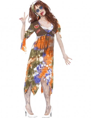 Disfarce zombie hippie mulher Halloween