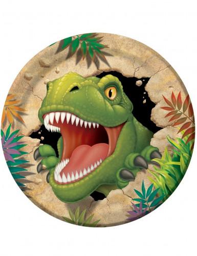 8 Pratos de cartão Dinossauro