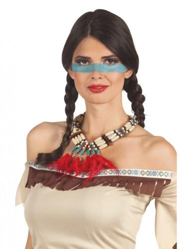 Colar de índia com plumas vermelhas mulher