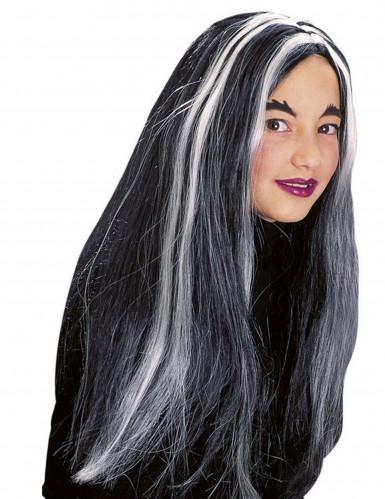 Peruca bruxa preta e branca fosforescente menina Halloween-1