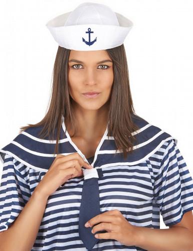 Chapéu e gola azul marinheiro adulto-1