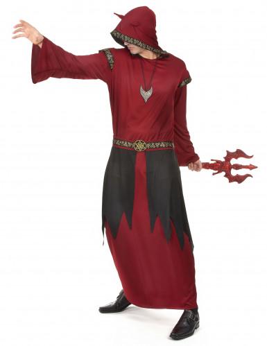 Disfarce conde satânico vermelho homem Halloween-1