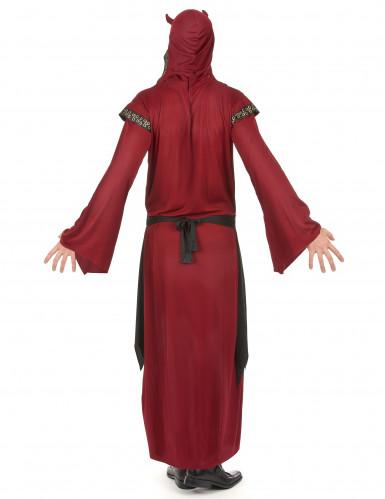 Disfarce conde satânico vermelho homem Halloween-2