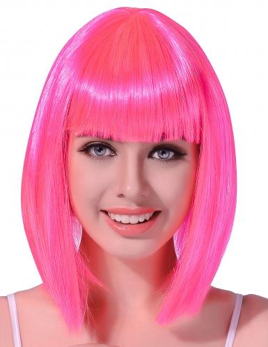 Peruca semi-longa cor-de-rosa mulher