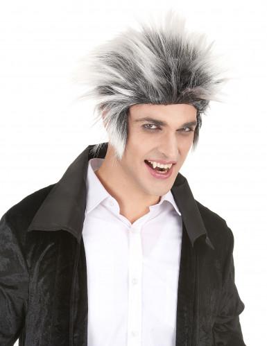 Peruca preta e branca homem Halloween