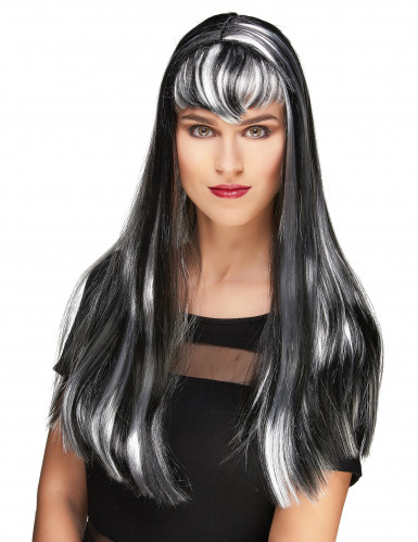 Peruca vampiro comprida preta e branca com franja mulher