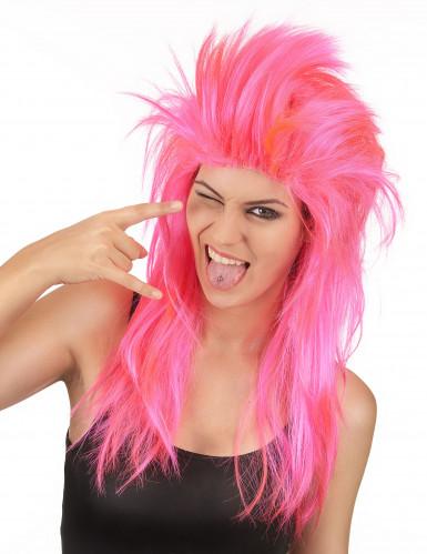 Peruca cantora de rock cor-de-rosa mulher