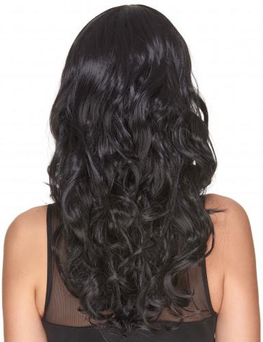 Peruca de luxo longa preta encaraculada para mulher - 221g-2