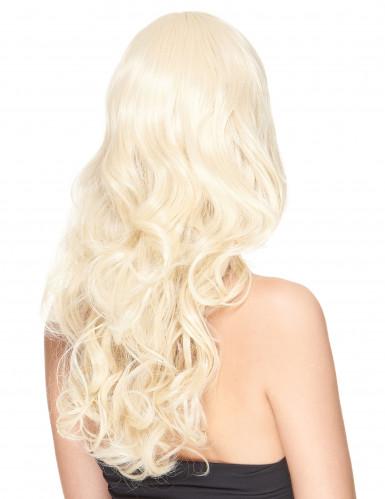 Peruca de luxo longa loira encaraculada para mulher - 221g-1