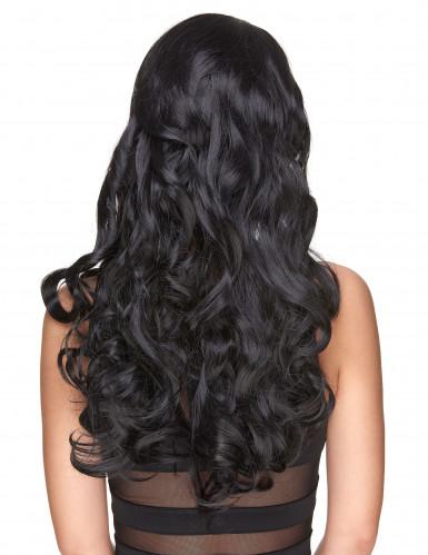 Peruca de luxo longa preta encaraculada para mulher - 251g-1