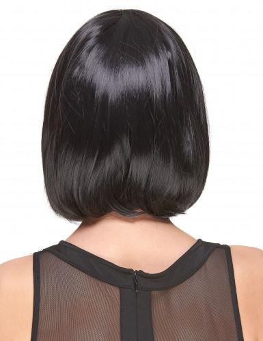 Peruca de luxo preta com franja mulher-1