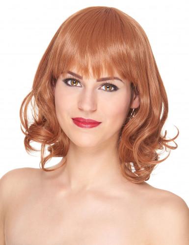 Peruca de luxo ruiva semi-longa com franja mulher