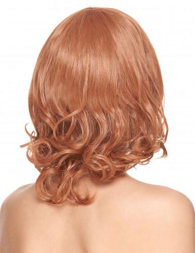 Peruca de luxo ruiva semi-longa com franja mulher-1