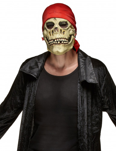 Máscara de látex caveira pirata adulto Halloween