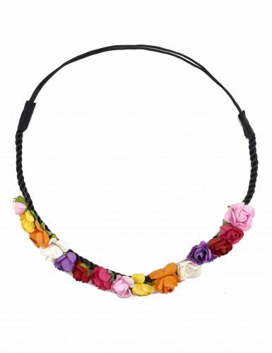 Coroa de flores coloridas mulher