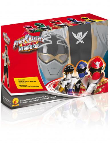 Disfarce 3D EVA Power Rangers™ Silver super mega força menino-1