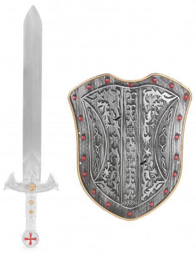 Kit de Cruzado para criança Escudo Cizento e Espada