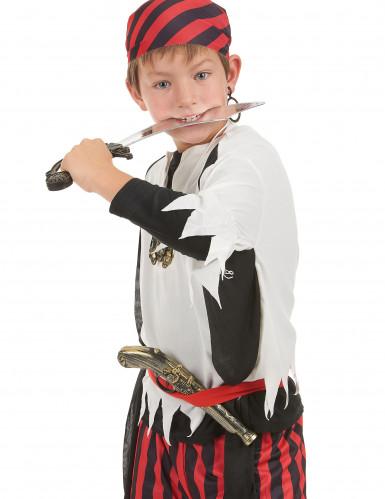 kit de pirata - Sabre pistola insignia e brinco para criança-1