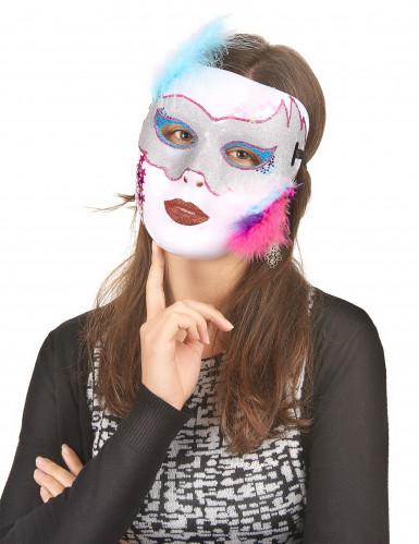Máscara branca brilhante para adulto-1