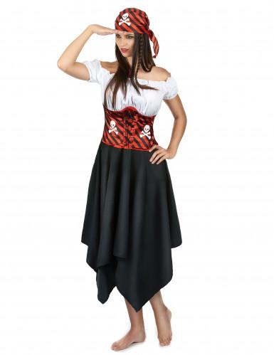 Disfarce de Pirata às riscas pretas e vermelhas para mulher-1