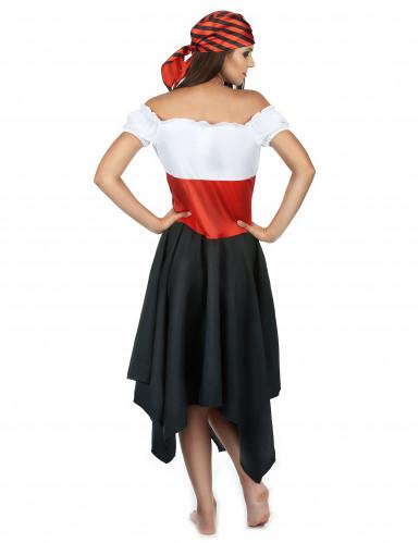 Disfarce de Pirata às riscas pretas e vermelhas para mulher-2
