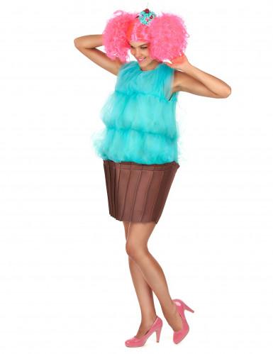 Disfarce de cupcake turquesa para mulher-1