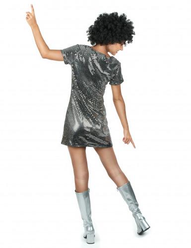Disfarce Vestido Disco Prateado-2