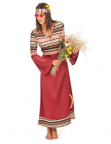 Disfarce de Vestido hippie bordeaux para mulher