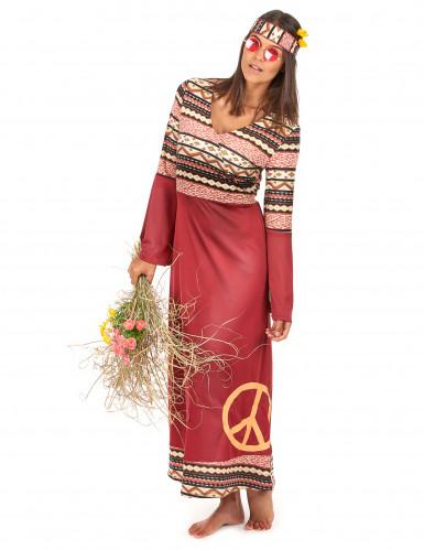 Disfarce de Vestido hippie bordeaux para mulher-1