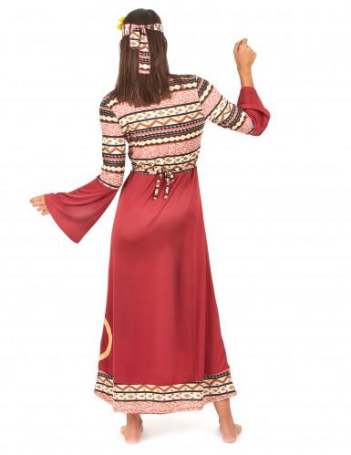 Disfarce de Vestido hippie bordeaux para mulher-2
