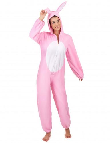 Disfarce de coelho cor-de-rosa para mulher