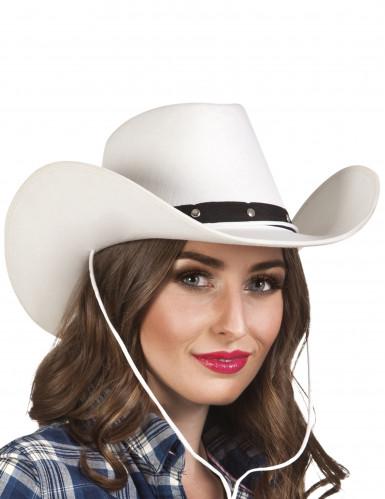 Chapéu Branco de cowboy para adulto