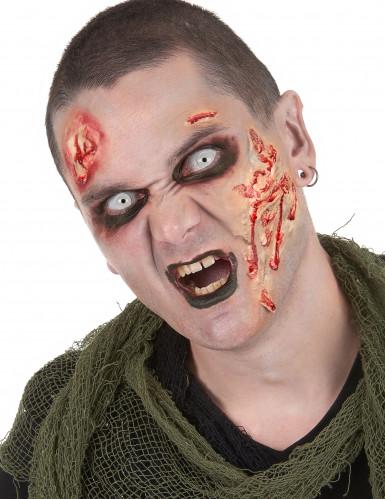 Kit maquilhagem zombie com lentes fantasia adulto