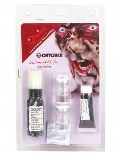Kit maquilhagem zombie com lentes fantasia adulto-1