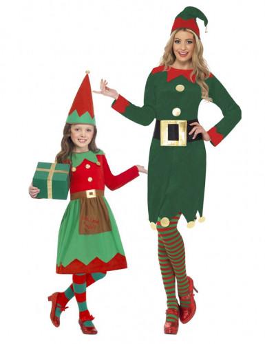 Disfarce de casal Elfos de Natal mãe e filha