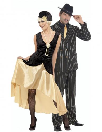 Disfarce de casal charleston dourado