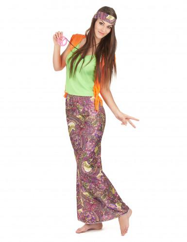 Disfarce hippie cor-de-rosa e verde mulher-1