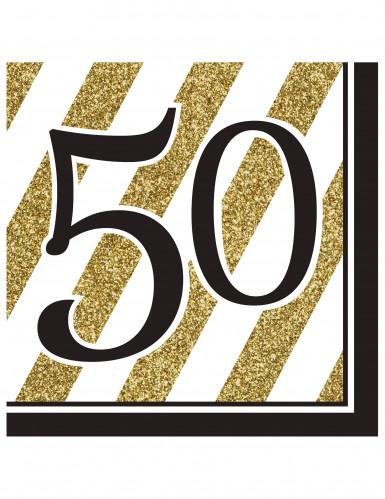 16 Guardanapos de papel 50 anos preto e dourado 33 x 33 cm