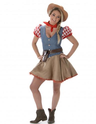 Disfarce cowgirl colorido mulher