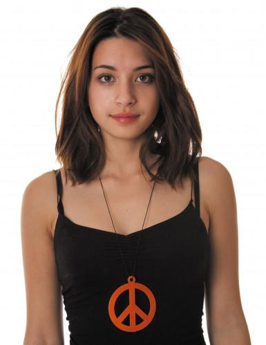 Colar peace and love cor de laranja fluo adulto