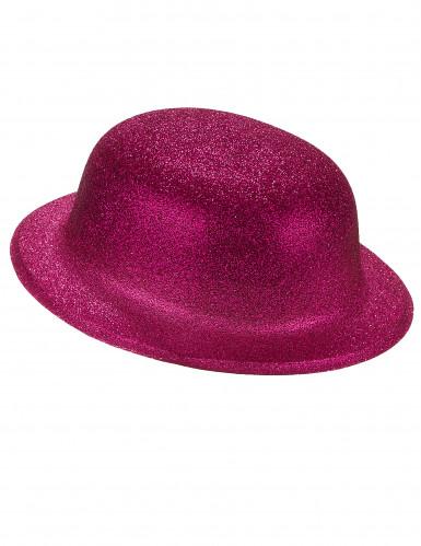 Chapéu coco brilhante fuschia plástico adulto