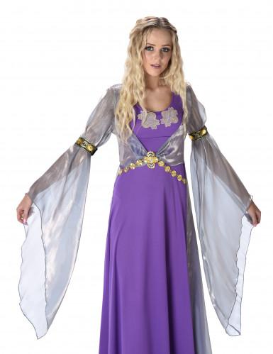 Disfarce princesa medieval lilás mulher-1
