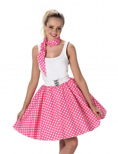 Disfarce dos anos 50 cor-de-rosa às bolas brancas mulher-1