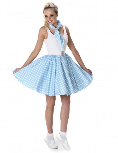Disfarce anos 50 azul às bolas brancas mulher